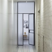 This opaque glass door adds an element of floor, interior design, gray