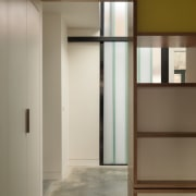 Concrete floors are in keeping with the industrial door, furniture, interior design, wardrobe, gray, brown