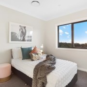 A view of the second guest bedroom bedroom, estate, home, interior design, property, real estate, room, window, white