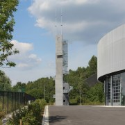 569 firestation architecture, building, cloud, sky, tower, tree, gray