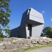 Observatory or rock formation? architecture, building, cottage, home, house, hut, real estate, sky, blue
