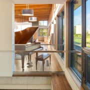 Glass balustrades avoid interrupting the sight lines architecture, daylighting, door, home, house, interior design, living room, real estate, window, gray, brown