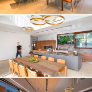 Inside the home, the living room shares the architecture, furniture, home, interior design, product design, table, wood, gray