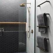 Caro Design bathroom, floor, plumbing fixture, product design, room, tap, tile, wall, black, gray