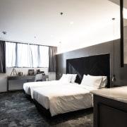 Hotel Ease architecture, bedroom, ceiling, floor, hotel, interior design, room, suite, white, black, gray