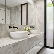 LSA Architects bathroom, countertop, floor, interior design, product design, room, sink, tap, gray