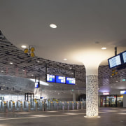 Municipal Offices and Train Station, Delft airport terminal, architecture, arena, building, ceiling, daylighting, infrastructure, metropolitan area, sport venue, structure, gray