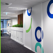 The office features ample storage product, product design, gray, white