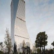 Icon Yuanduan Tower architecture, building, condominium, corporate headquarters, daytime, facade, headquarters, landmark, metropolis, metropolitan area, mixed use, sky, skyscraper, tower, tower block, gray