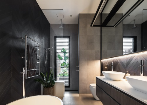 Concealed lighting under the wall cabinetry washes down architecture, bathroom, bathroom design, black, white, tiles,  vanity, Melonie Bayl-Smith, Andrew Lee, Bijl Architecture