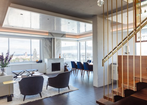 Renovation of this 1980s penthouse duplex by architect home, house, architecture, design, floor, flooring, furniture, home, house, interior design, living room, table, penthouse, renovation, Andrew Wilkinson