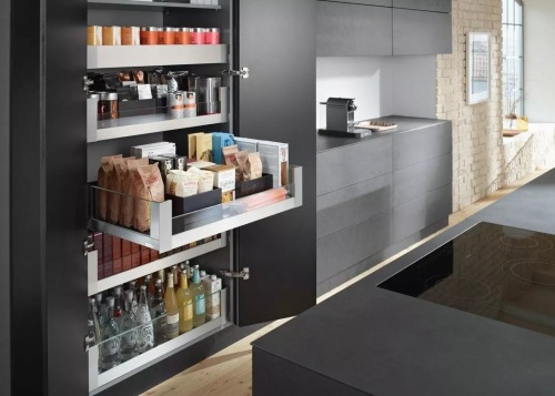 Learn more about Space Tower on the countertop, display case, interior design, kitchen, shelf, black, gray