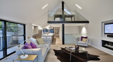 Highly Commended – Koia Architects – TIDA New architecture, ceiling, daylighting, home, house, interior design, living room, penthouse apartment, property, real estate, room, window, gray