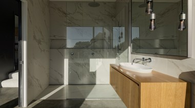 Urbanfunction Architecture – Finalist – 2019 TIDA New architecture, bathroom, bathroom accessory, bathroom cabinet, bathroom sink, building, ceramic, floor, flooring, furniture, home, house, interior design, marble, material property, plumbing fixture, property, room, sink, tap, tile, black, gray
