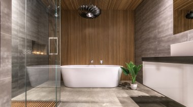 The rimu clad ceiling, which flows through the architecture, bathroom, floor, flooring, interior design, lobby, plumbing fixture, room, tile, gray