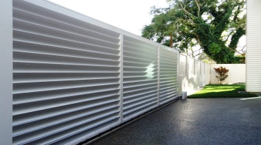 78580_louvretec-new-zealand-ltd_1556758015 - architecture | building | daylighting | architecture, building, daylighting, facade, fence, house, material property, metal, property, real estate, shade, siding, wall, window, gray