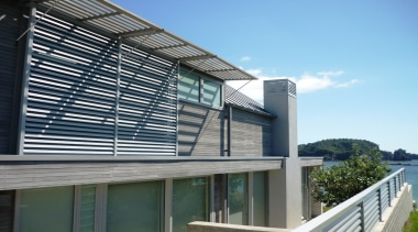 78580_louvretec-new-zealand-ltd_1556758086 - architecture | balcony | building | architecture, balcony, building, corporate headquarters, daylighting, facade, glass, home, house, material property, metal, property, real estate, residential area, siding, window, teal, black