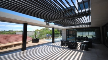78580_louvretec-new-zealand-ltd_1557360817 - apartment | architecture | building | apartment, architecture, building, ceiling, deck, floor, hardwood, home, house, interior design, patio, pergola, porch, property, real estate, roof, room, shade, black