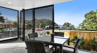 78580_louvretec-new-zealand-ltd_1557361996 - apartment | architecture | balcony | apartment, architecture, balcony, building, condominium, deck, furniture, home, house, interior design, patio, property, real estate, room, white, black