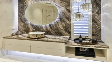 Dunlop Design – Runner-up –2019 TIDA New Zealand bathroom, bathroom accessory, bathroom cabinet, beige, ceramic, floor, flooring, furniture, interior design, marble, mirror, property, room, sink, tile, wall, wallpaper, gray