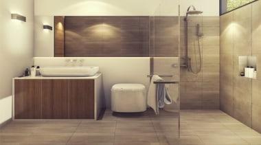 Bathroom Heating - bathroom   floor   flooring bathroom, floor, flooring, interior design, plumbing fixture, room, sink, tile, wall, wood flooring, brown, orange