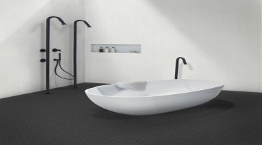 Manufactured in the same five colours as the angle, bathroom, bathroom sink, bidet, ceramic, plumbing fixture, product, sink, tap, toilet seat, white, black