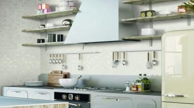 Beton Still Cotton Candy Hex Mosaic - Beton countertop, interior design, kitchen, shelf, wall, white, gray