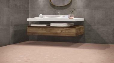 Beton Still Rosy Blush Hex Mosaic - Beton bathroom, bathroom accessory, bathroom cabinet, bathroom sink, ceramic, drawer, floor, flooring, plumbing fixture, sink, tap, tile, wall, gray, orange