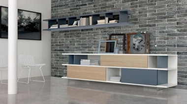 Brick One has the benefit of a considerably chest of drawers, desk, floor, furniture, interior design, shelf, shelving, table, wall, gray