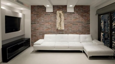 Brick One porcelain stoneware is an incredibly convincing ceiling, couch, floor, flooring, furniture, interior design, living room, property, room, wall, gray