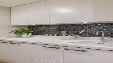 St Heliers III - countertop   granite   countertop, granite, interior design, kitchen, room, sink, tap, tile, under cabinet lighting, gray