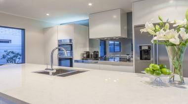 Undermount sink bowls enhancing bench space - countertop countertop, interior design, kitchen, real estate, white, gray