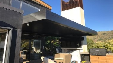 Concertina Retractable Louvres - home | house | home, house, outdoor structure, property, real estate, roof, black