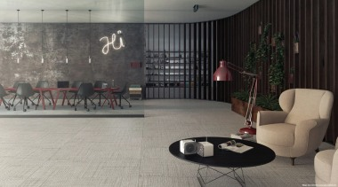 Designed by Massimo Iosa Ghini a leading Italian architecture, design, floor, flooring, furniture, interior design, living room, lobby, room, table, wall, gray, black