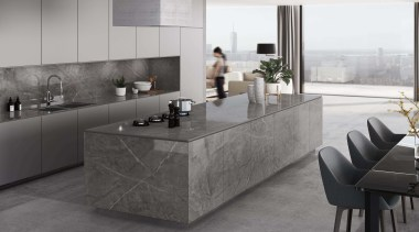 Dekton Kitchen – Korso - architecture | building architecture, building, cabinetry, countertop, floor, flooring, furniture, gloss, home, interior design, kitchen, marble, material property, property, room, table, tile, wall, gray, black