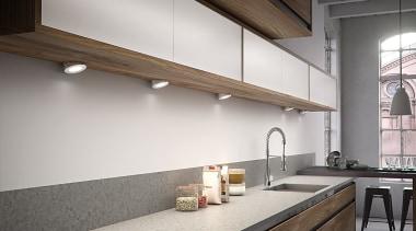 DOMUS LINE Atom 24Vdc Spotlight with Angled SpacerAtom architecture, ceiling, countertop, daylighting, interior design, kitchen, white, gray