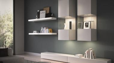 DOMUS LINE Atom 24Vdc Spotlight with Straight SpacerAtom bathroom accessory, bookcase, display case, furniture, interior design, living room, shelf, shelving, wall, gray, black