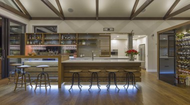 This one off custom combined bar and kitchen architecture, building, cabinetry, ceiling, countertop, dining room, floor, flooring, furniture, hardwood, home, house, interior design, loft, property, real estate, room, table, wood, wood flooring, gray, brown