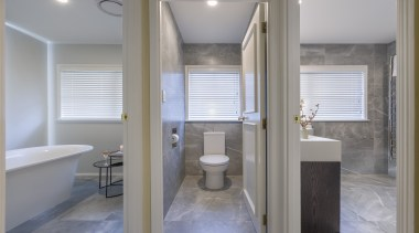 This reconfigured and expanded bathroom now boast three architecture, bathroom, building, estate, floor, home, house, interior design, plumbing fixture, property, real estate, room, tile, gray