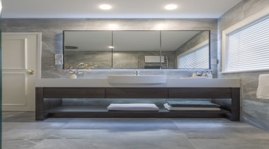 Three mirror cabinets and three boys to use architecture, bathroom, bathtub, building, ceiling, floor, flooring, furniture, glass, home, house, interior design, lighting, marble, material property, plumbing fixture, property, real estate, room, tap, tile, gray