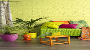 Embrace Nature - chair | couch | flowerpot chair, couch, flowerpot, furniture, green, interior design, living room, table, wall, wallpaper, yellow, yellow, brown