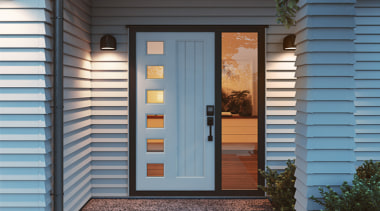 Half doors create a wider entrance, while sidelights door, facade, home, house, real estate, siding, window, window covering, wood, teal, gray
