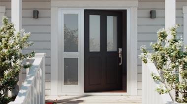 The classic look of a recessed panel door door, home, window, gray