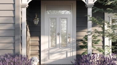 The Villa door is the perfect addition to door, facade, home, house, porch, siding, window, gray, white