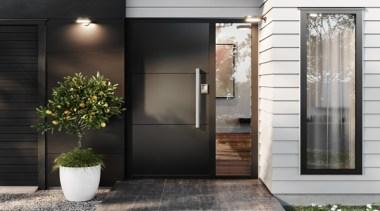 Versatile flush panel doors offer a more contemporary door, black