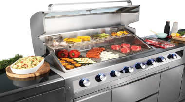 Gasmate Luxury Outdoor Kitchens - barbecue grill | barbecue grill, contact grill, cookware and bakeware, cuisine, dish, food, gas stove, grilling, home appliance, kitchen appliance, outdoor grill, product, white, gray