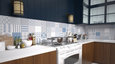 A mixture of 16 different graphics on each countertop, cuisine classique, interior design, kitchen, white, black