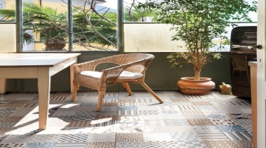 The patterns of Graphite add depth to a chair, floor, flooring, furniture, hardwood, laminate flooring, outdoor furniture, outdoor structure, patio, property, table, tile, wood flooring, white
