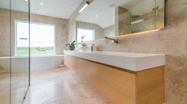 Highly Commended – Emma Morris Eterno Design - architecture, bathroom, countertop, floor, flooring, home, interior design, real estate, room, sink, tile, gray