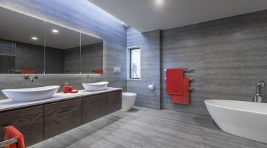 Highly Commended – Kira Gray Fyfe Kitchens - architecture, bathroom, floor, flooring, home, interior design, real estate, room, tile, wall, gray